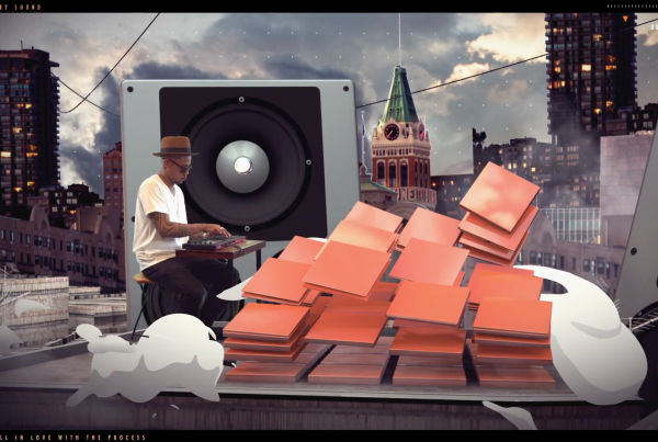 brown man playing mpc with motion graphics of an mpc smoking on floor
