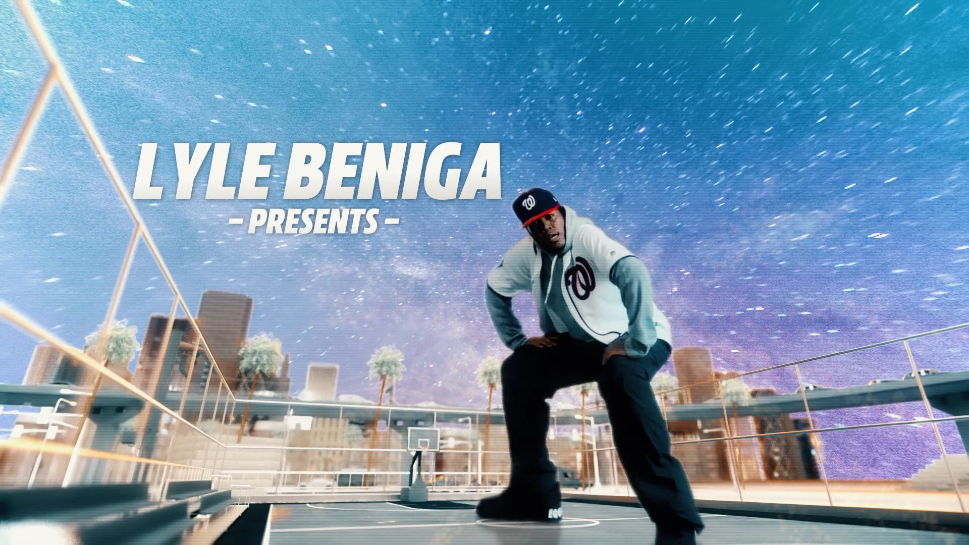 man in baseball cap and jersey dancing in front of motion graphics of a city landscape