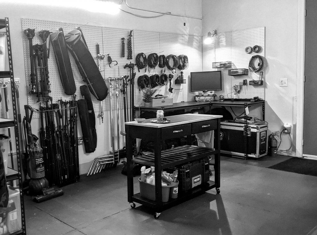 stablished studio production gear equipment locker organization