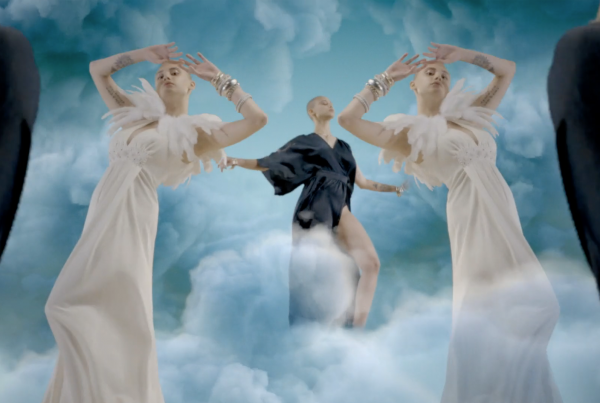 3d Motion Graphic Models - woman in clouds duplicated