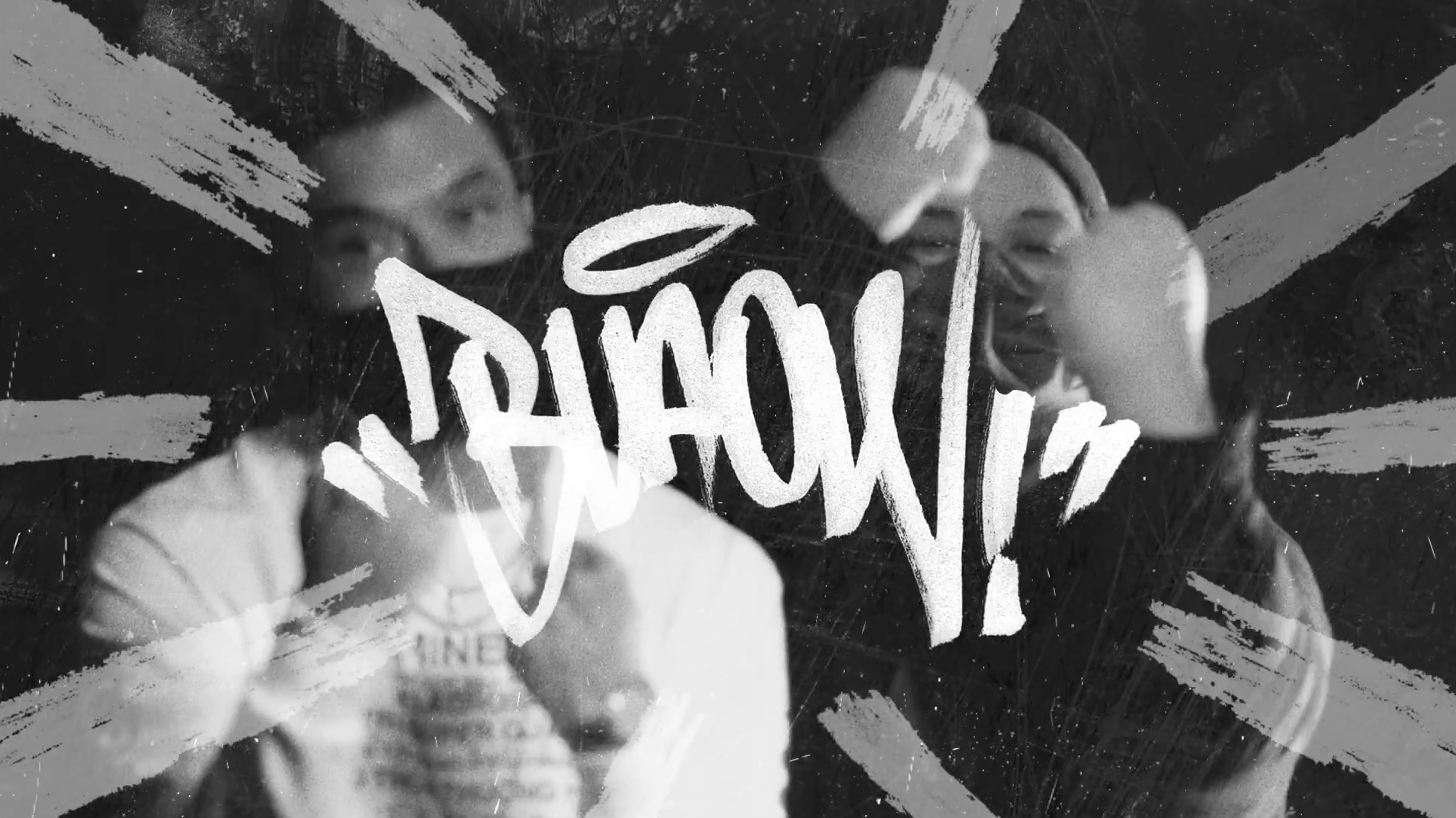 Asian men Lyrics Born & Cutso with motion graphic overlay titled
