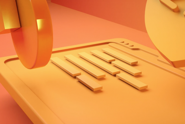 3D motion graphics of yellow board with moving objects