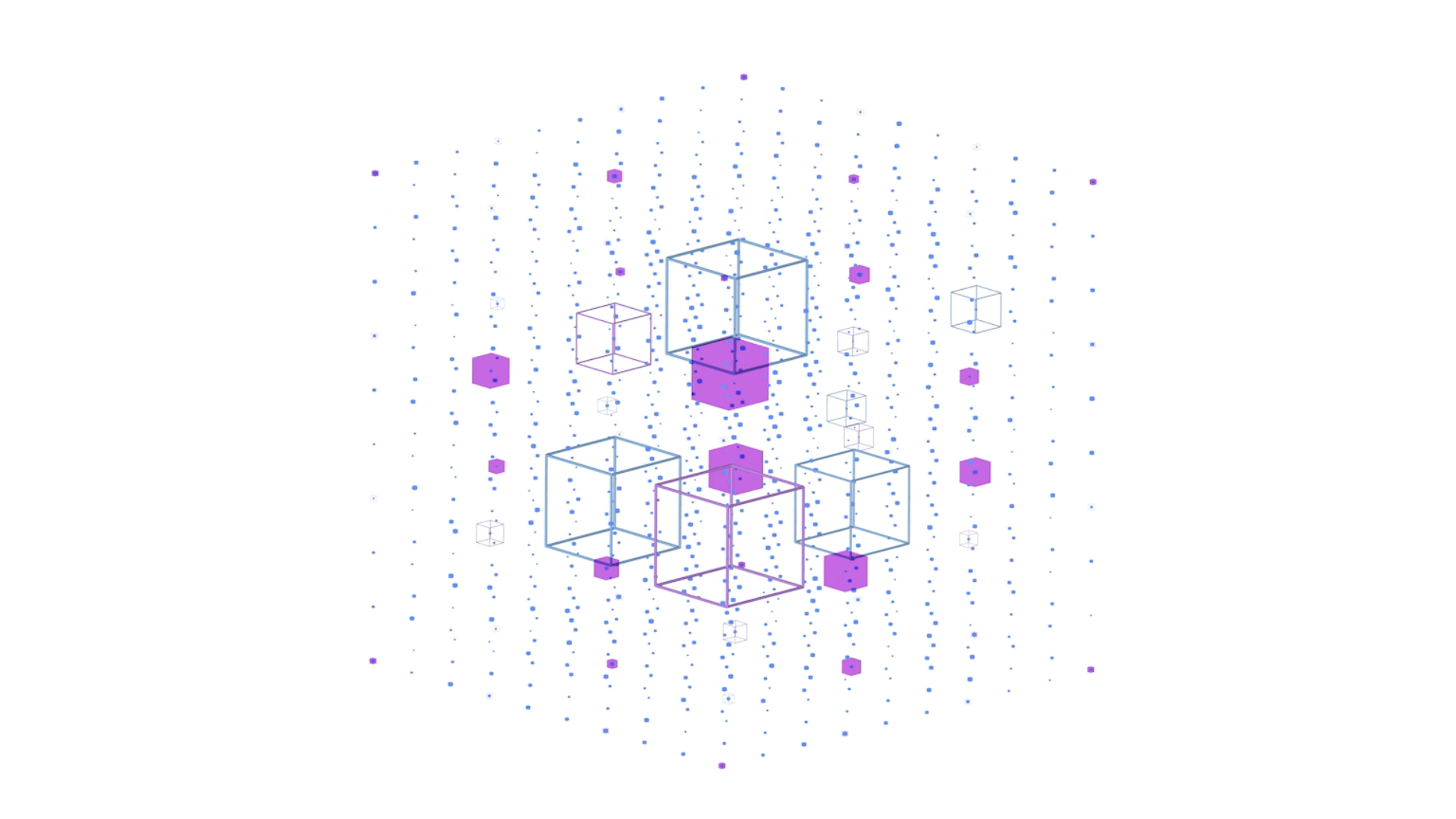 Screen capture of motion design video   Blue and purple boxes inside a dotted box