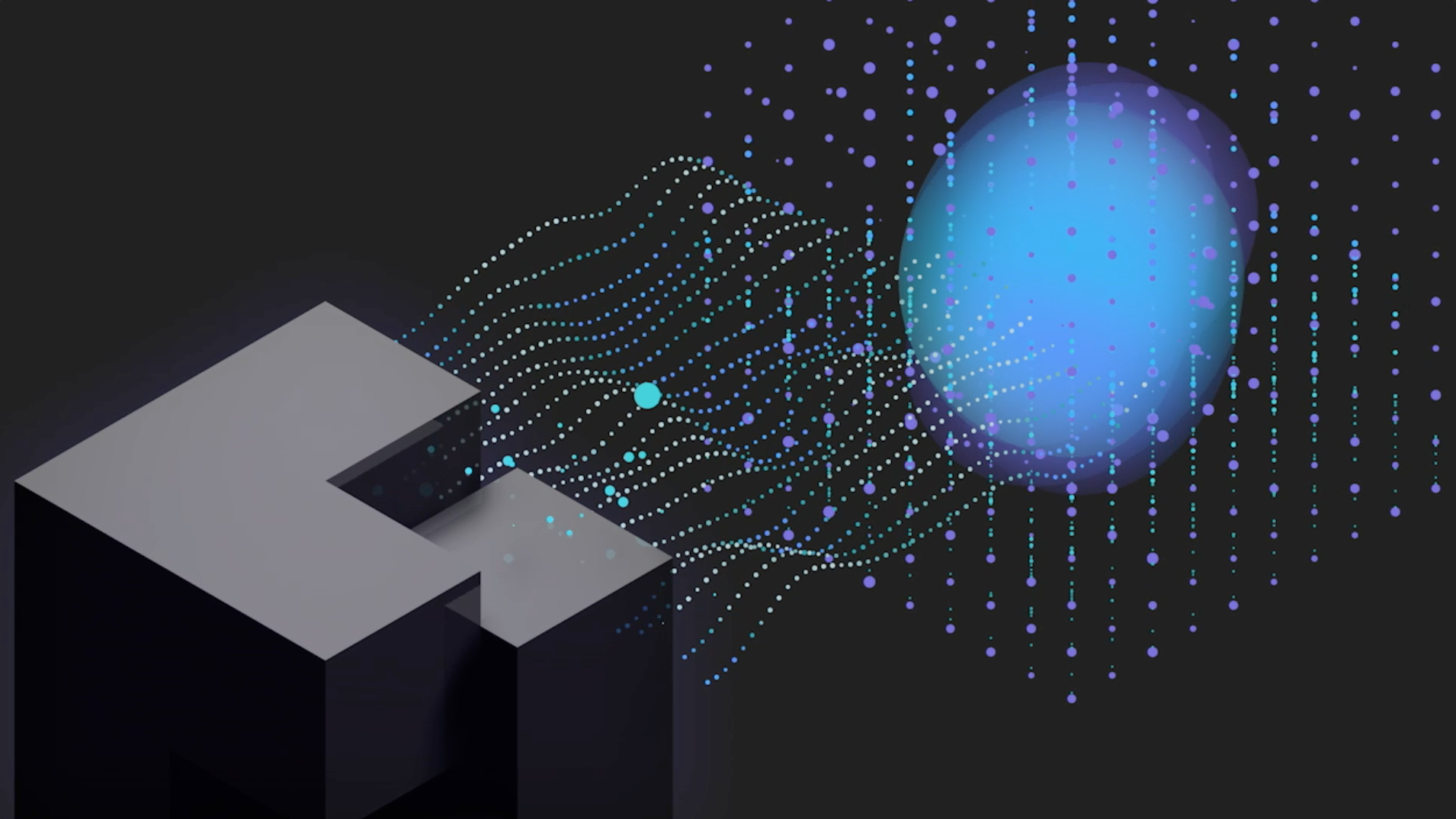 Screen capture of motion design video with grey towers with wavy design dots moving towards a boxed dots with a large blue circular inside