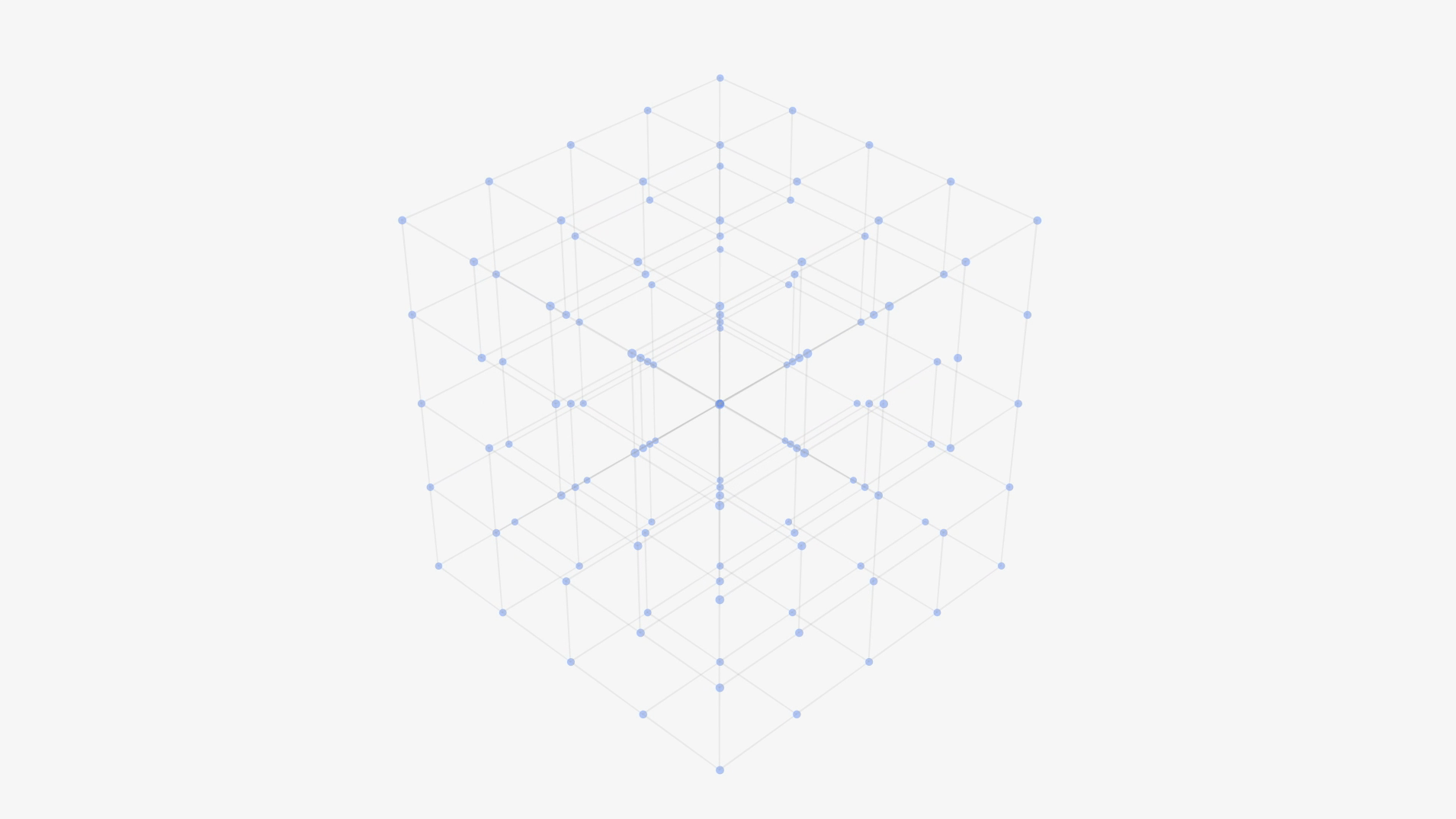 Motion design screenshot of outlined boxes connected by blue dots to make one large box